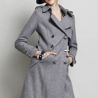 Irregular Double-breasted Wool-blend Coat