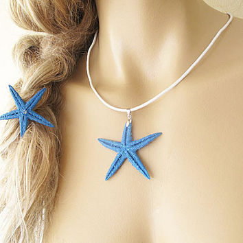 Summer Hair Accessories, Blue  Beach hair clip, Hair Clip and Necklace,Starfish Pins, Mermaid Hair Accessories, Natural, Hand-Painting