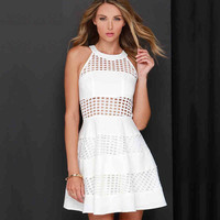 White A-Line Crochet Sleeveless Dress