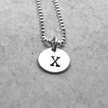 Letter X Necklace, Sterling Silver, X Initial Necklace, Hand Stamped Jewelry, All Letters Available, Gifts for Her, Everyday Necklace