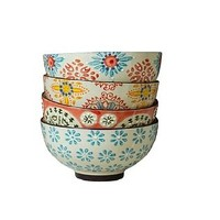 Bohemian Painted Bowl Set Of Four