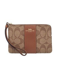 Coach Corner Zip Signature PVC Wristlet, 58035, KHAKI/SADDLE