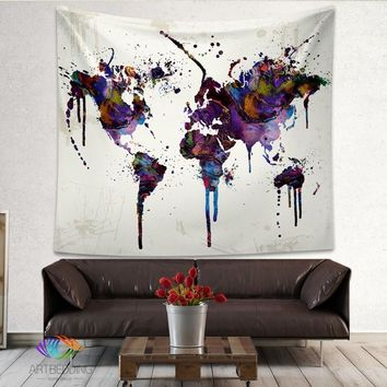 Abstract World Map Tapestry Wall Hanging Sandy Beach Mat Picnic Throw Rug Blanket Camping Tent Travel Sleeping Pad