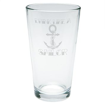 Drink Like A Sailor Anchor Tattoo Etched Pint Glass