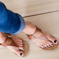 Casual Abby - Monogrammed Brown Sandal | Driftwood Market