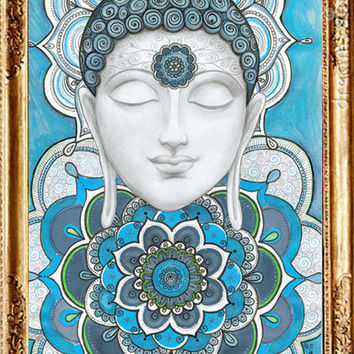 Buddha wall art , Buddha Mandalas Painting, Teal Navy Blue Buddha Wall Decor, Mural Buddha Art, Inspirational Spiritual Zentangle Art