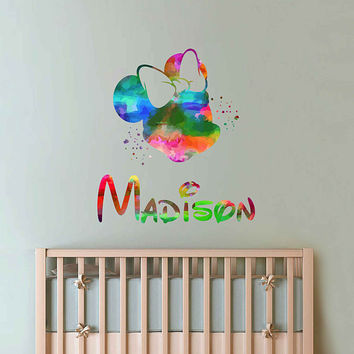 kcik2076 Full Color Wall decal Mickey Mouse Minnie Mouse Watercolor Character Disney Sticker  children's room personalized Child's name