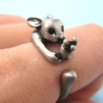 Bunny Rabbit Animal Wrap Ring with Carrot in Silver - Sizes 4 to 9 Available