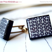 ON SALE 10 OFF Geometric -  Black and white - Scrabble Cufflinks - Gift for him/her - Unisex