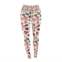 "Jane Smith ""Garden Floral"" Plants Bugs Yoga Leggings"