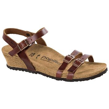 Women's Lana Papillo Leather Wedge Sandal in Cognac by Birkenstock