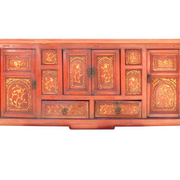 Chinese Rustic Red Golden Flower Low Cabinet Table cs1525S