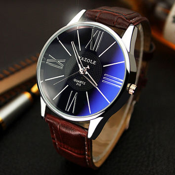 2016 YAZOLE luxury brand quartz watch Casual Fashion Leather watches reloj masculino men watch Business Sports Wristwatch