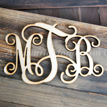 Monogram Wooden - Unfinished Vine Script Monogram - Wood Monogram - Monogram Wall Hanging - Monogram Home Decor