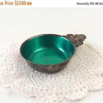 ON SALE - Silverplated Enamel Porringer Bowl, Vintage Wm A Rogers, Emerald Green