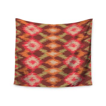"""Coral Aztec"" Tribal Boho Orange Pattern Wall Tapestry"