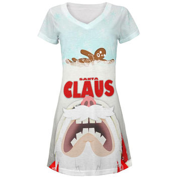 Christmas Santa Jaws Claus Horror All Over Juniors V-Neck Dress