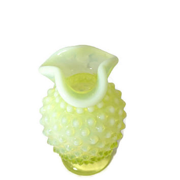 "Fenton Glass Vase - Yellow Opalescent Hobnail, Miniature, Early Pre-Logo, 3.5"" tall"