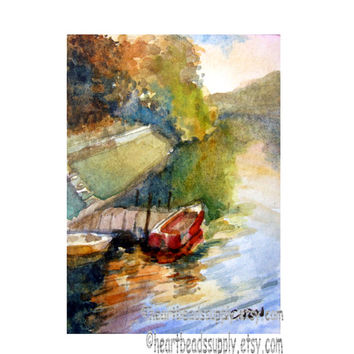Little Red Boat aceo painting wallart landscape id1340886 original watercolor, not a print, wall art, gift ideas | nature