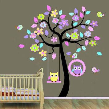 Tree Wall Mural Nursery Children Wall Decals For Nursery-Tree with Owls Birds - BONUS GIFT