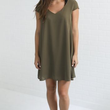 smooth sailing shift dress - olive