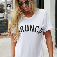 Brunch Graphic Tee: Private Party {White}