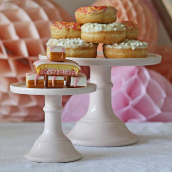 Milk Glass Cake Stand Plate Pastel Colours