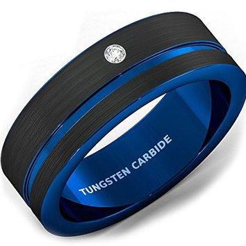 8mm Mens Wedding Band Black Brushed Tungsten Ring Thin Side Blue Groove Cubic Zircon Flat Edge Comfort Fit
