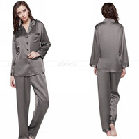 Womens Silk Satin Pajamas Set  Pajama Pyjamas Set  Sleepwear  Loungewear S,M,L,XL,2XL,3XL  Plus Black  Solid