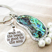 Walk on the Beach Keychain, Abalone Shell Foot Keychain, Car Accessory