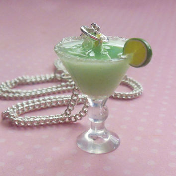 miniature margarita necklace, mini food, food jewelry
