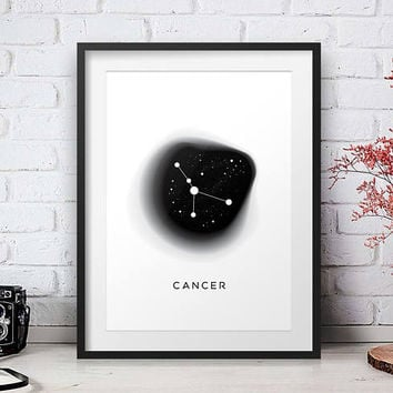 Cancer Print, Zodiac Constellation, Astrology Poster, Zodiac Birthday Gift, Geometric Printable, Modern Design, Large size, Minimal Poster