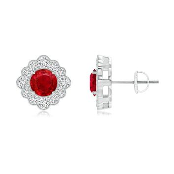 Floriated Milgrain Border Ruby Stud Earrings