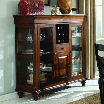 Homelegance McKean Curio w/ Wine Storage in Brown