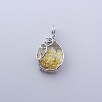 Yellow wire wrapped pendant, yellow pendant, spakling pendant, glass pendant, glitter pendant