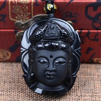 Bead Curtain Natural Obsidian Scrub Pendant Black Guanyin Head Pendants Transhipped Buddha Head