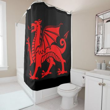 welsh dragon v3 shower curtain