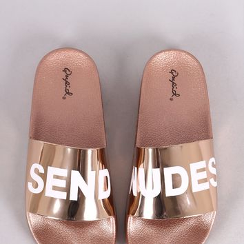 Qupid Send Nudes Metallic Slide Sandal