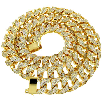 Men's Designer Fully Iced out Lab Diamonds Micro Plating Cuban Chain 14k Gold Finish