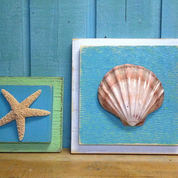 Starfish Plaque Sign Medium Wall Art Beach House Decor - One Plaque of Your Choice by CastawaysHall