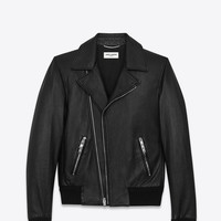 SAINT LAURENT BLACK BANDED MOTORCYCLE JACKET | YSL.COM