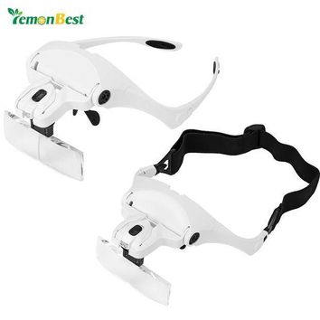 MDIGYN5 Lemonbest 2-LED Visor Magnifier Glasses Magnifying Glass Repair Jeweler Magnifier Tools with 5 Replaceable Lens Headband