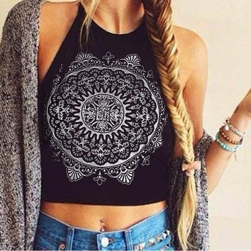 Print Crop Tops Tank Bustier Fitness Short Halter Tops