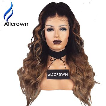 Alicrown 1B/27 Ombre Color lace Front Wigs Pre Plucked Body Wave Remy Hair Brazilian Human Hair Wigs With Baby Hair