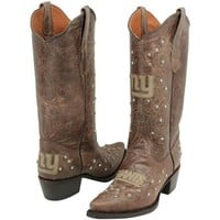 New York Giants Womens Crystal Accent Cowboy Boots - Brown