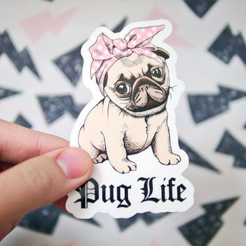 Funny Pug Life Dog Sticker - Cute Pug Sticker - Thug Life Sticker with Bandana - Pug Puppy Stickers - Vinyl Tumblr Stickers - S20
