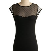 The Answer is Sheer Top   Mod Retro Vintage Short Sleeve Shirts   ModCloth.com