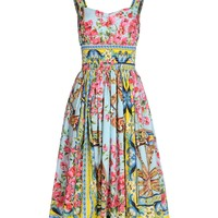 Dolce & Gabbana Floral Print Poplin Dress - Sleeveless Dress - ShopBAZAAR