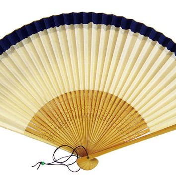 Vintage Japanese Bamboo and Paper Hand Fan