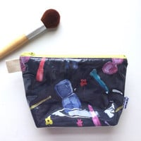 Watercolor Makeup Divided Flat Bottom Pouch Small (handmade philosophy's pattern)